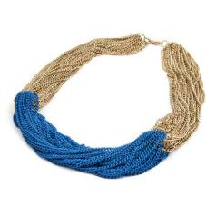 Gold Necklace, Blue, Pink