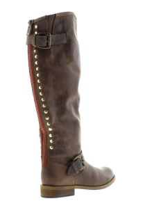Steve Madden's cutting-edge knee-high boot, red zipper at back,