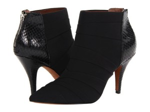 Donald Pliner, black sleek shoe boot, zippered back